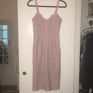 Express Corded Lace Bustier Dress in Dusty Pink